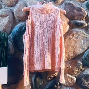 Turtleneck cold shoulder knit sweater